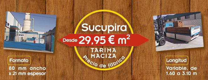 Tarima maciza de exterior de Sucupira a precio de fábrica: 29,95 € m2
