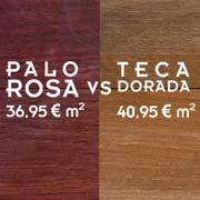 comparativa de tarima maciza de teca versus palo rosa