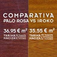 comparativa de tarima maciza de palo rosa con iroko