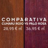 Comparativa entre tarima maciza de cumaru rojo vs palo rosa