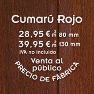 Oferta de tarima exterior de cumaru rojo con formato ancho