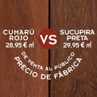 Comparativa de tarima de exterior: Cumarú rojo vs Sucupira